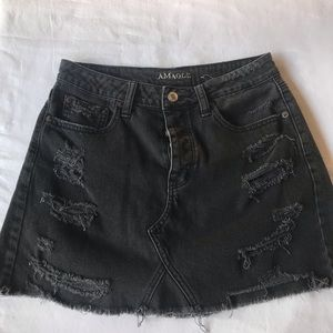 Black distressed jean skirt